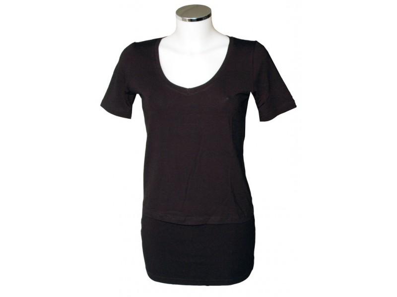 Černé nadměrné triko s výstřihem do V