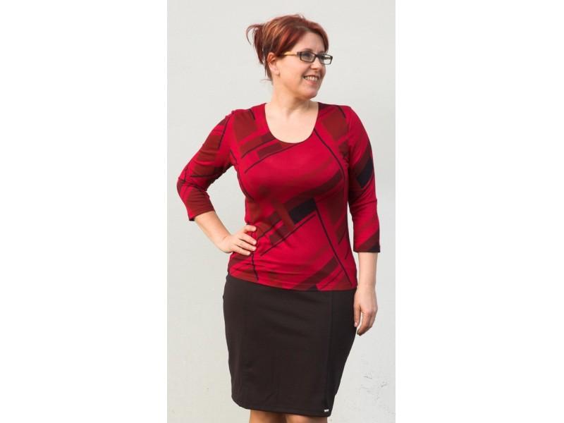 Červeno-černé klasické triko geom. vzor