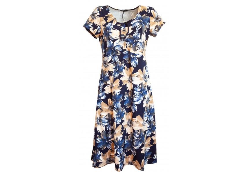 Tmavě modré šaty s květy