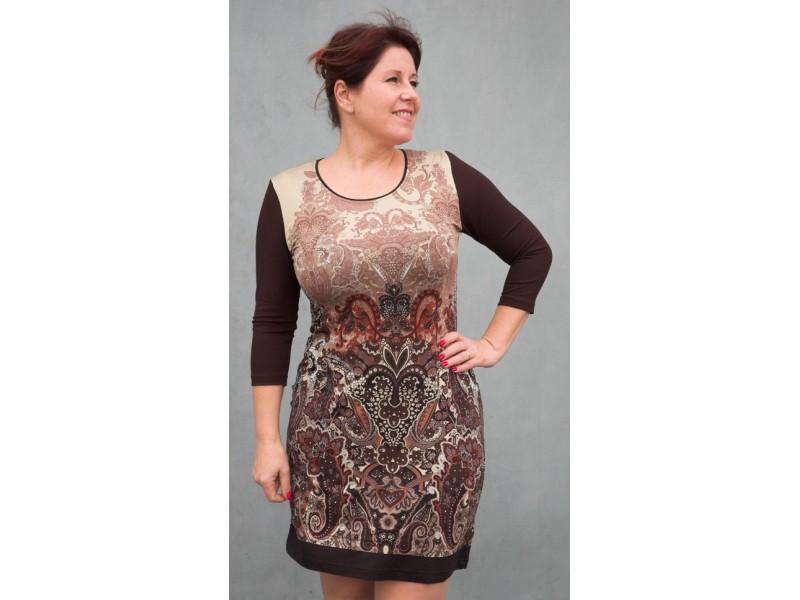 Krátké šaty s hnědým vzorem