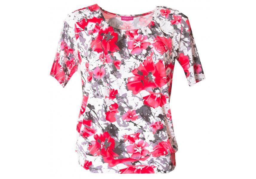 Elegantní triko s červenými květy