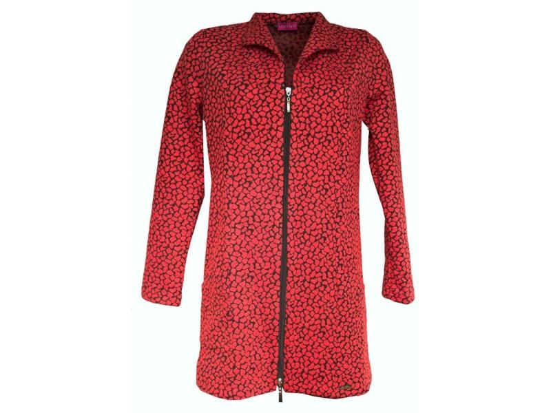 Červeno-černé prodloužené sako