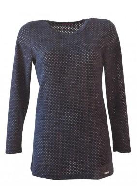 Dámský modrý svetr s jemným vzorem