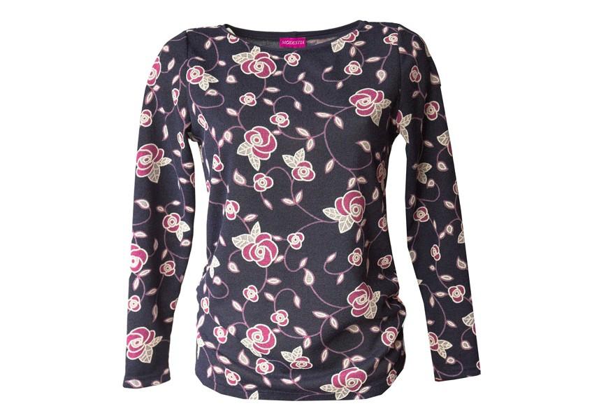 Dámský modrý svetr s růžovými květy
