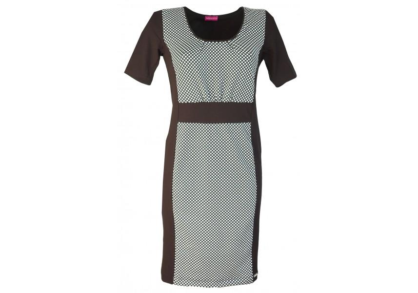 Jarní šaty s černo-bílým puntíkem