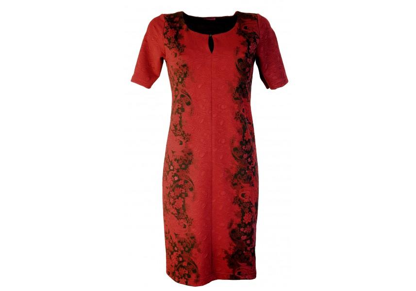 Vínové elegantní šaty s raportem