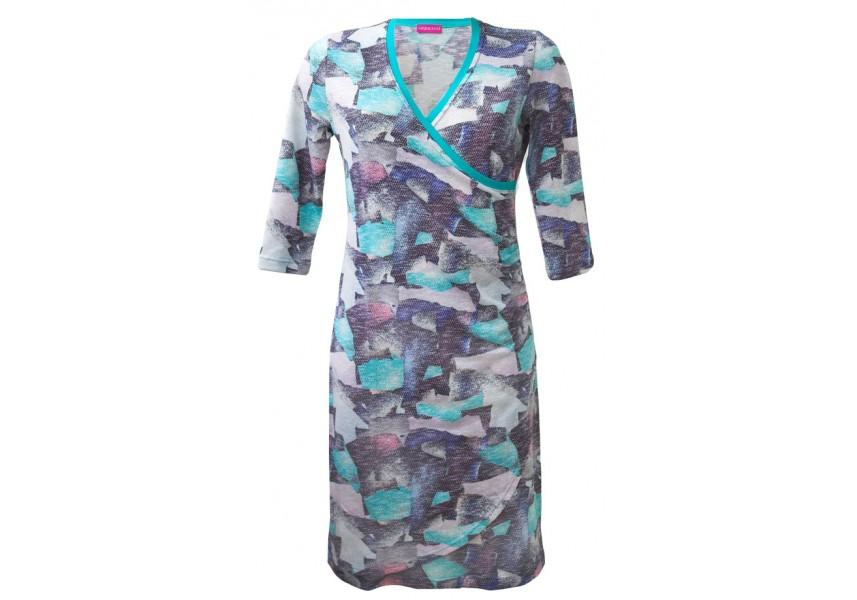 Modro-růžové šaty s 3/4 rukávem