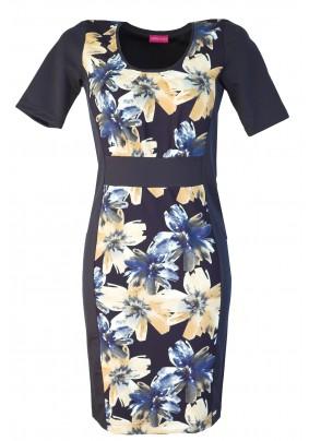 Šaty s béžovými květy