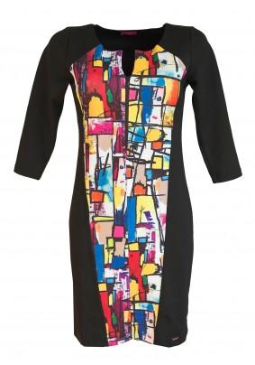 Šaty s barevným předním dílem