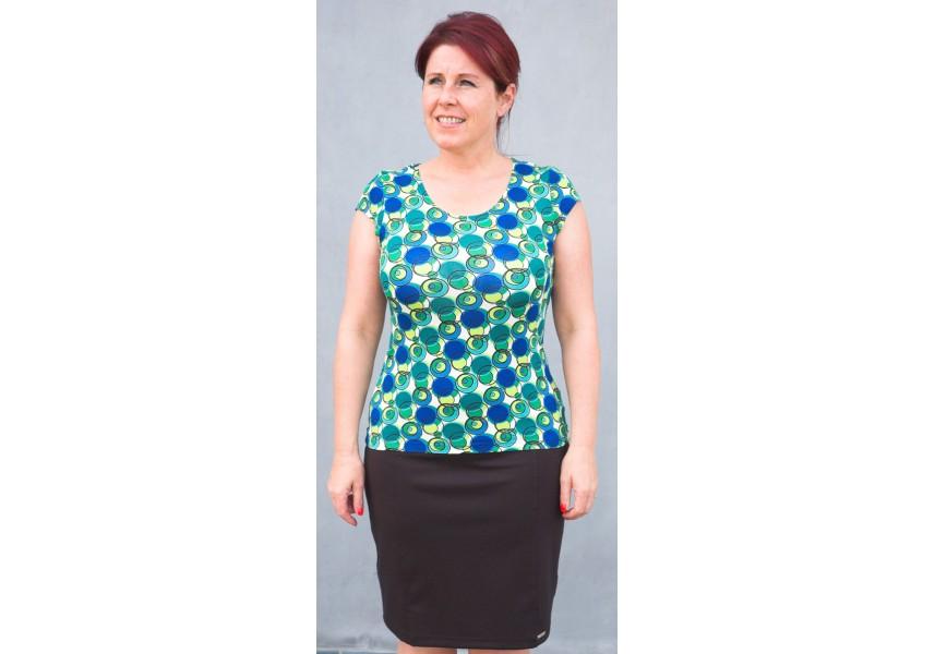 Triko s modro-zelenými koly