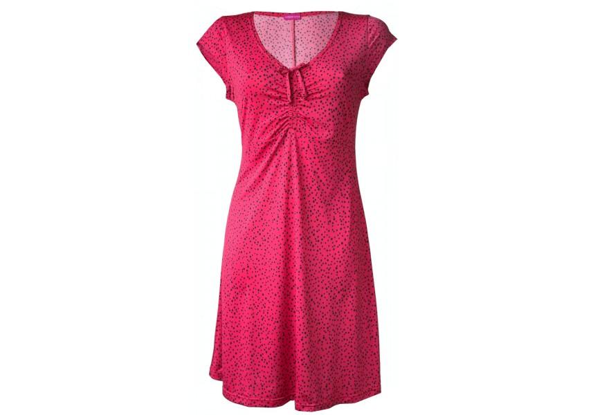 Růžové šaty s černými puntíky