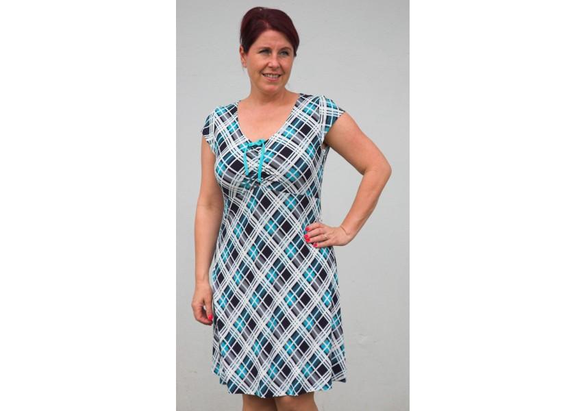 Modré kostkované šaty