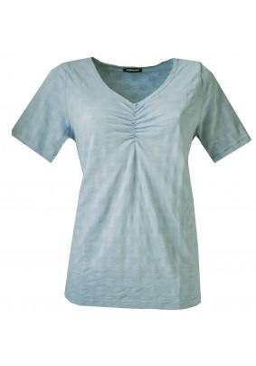 Šedo modré triko s výstřihem do V