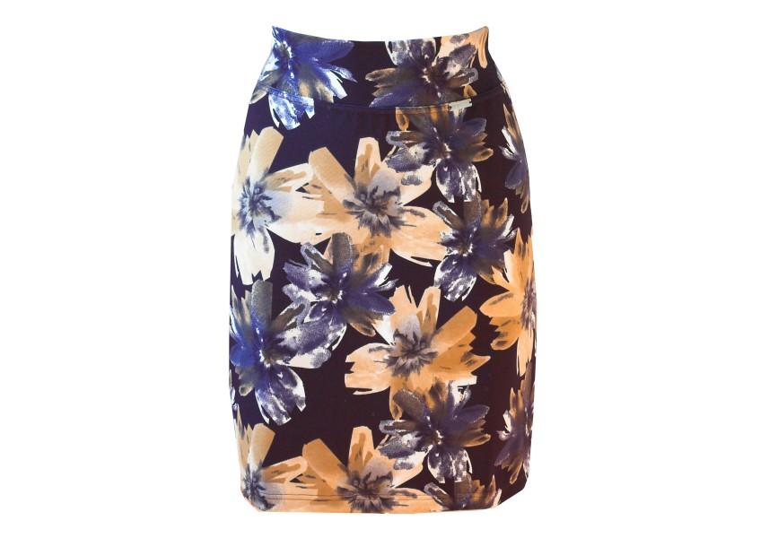 Sukně s béžovými květy