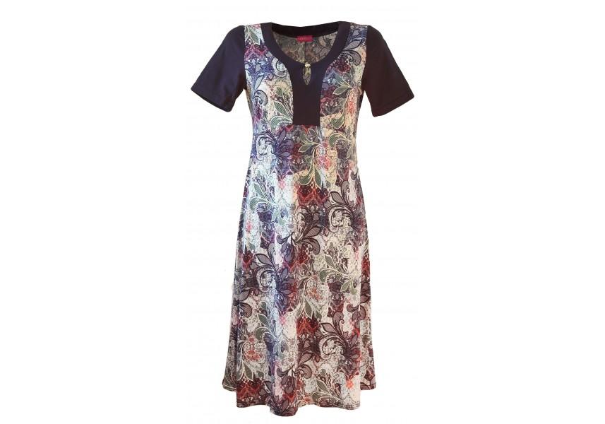 Šaty s modro-fialkovým tiskem