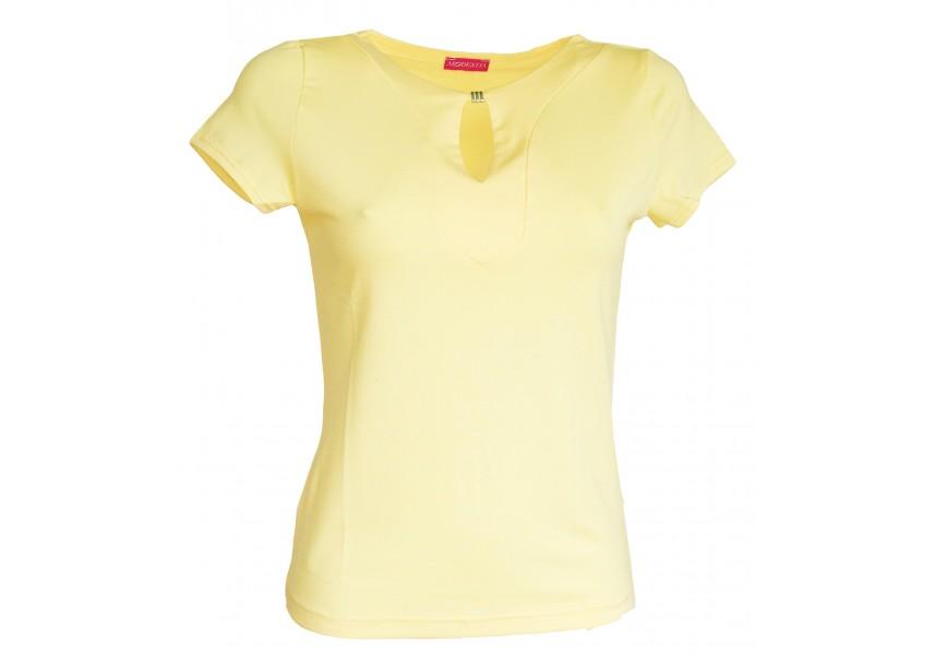 Žlutá halenka s ozdobou ve výstřihu