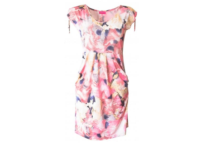 Růžové duhové šaty s kapsami