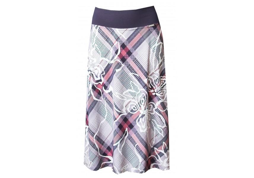 Barevná sukně s fialovo-růžovým kárem