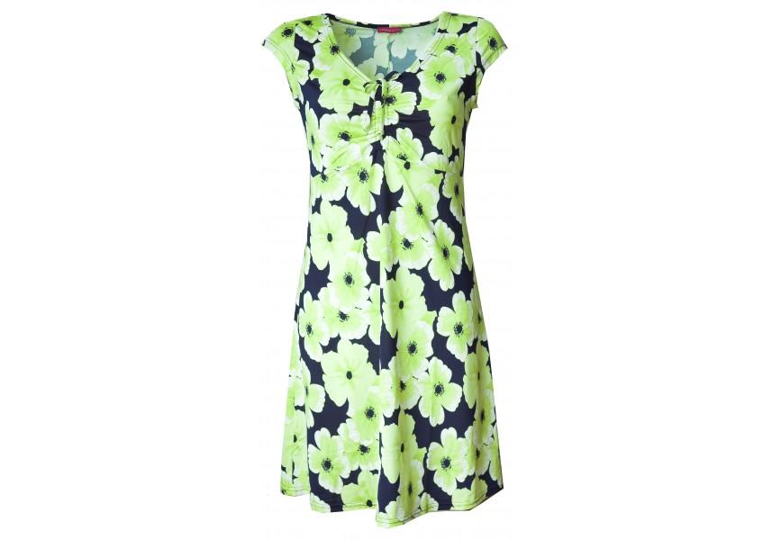 Letní šaty se zelenými květy