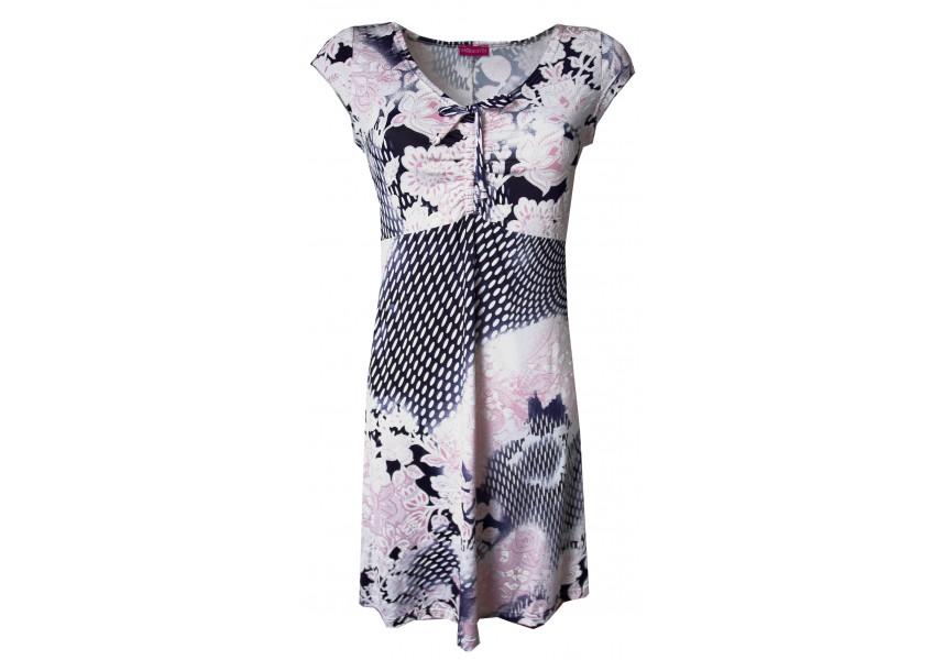 Růžovo-modré rozšířené letní šaty