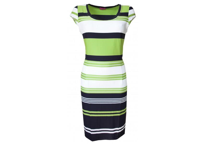 Zeleno-modro-bílé pruhované šaty