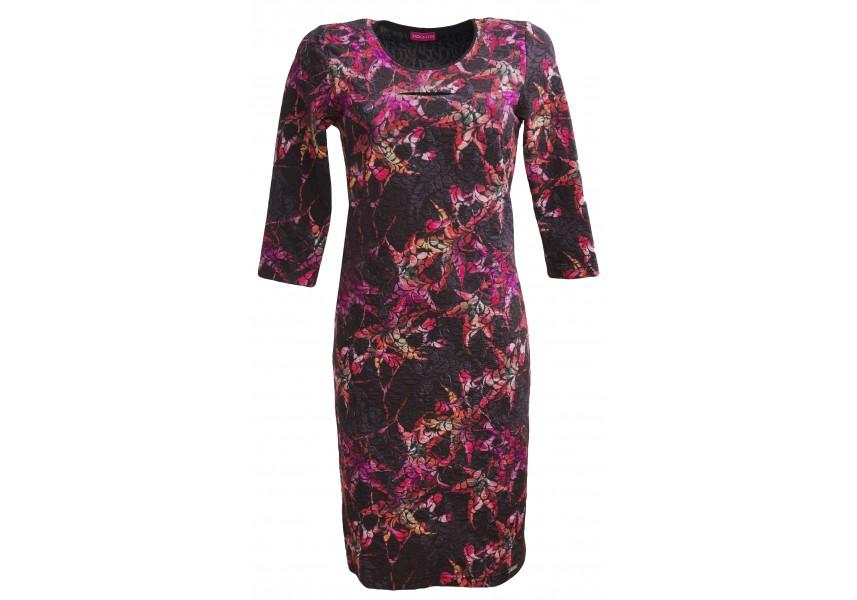 Černo-růžové šaty s 3/4 rukávem
