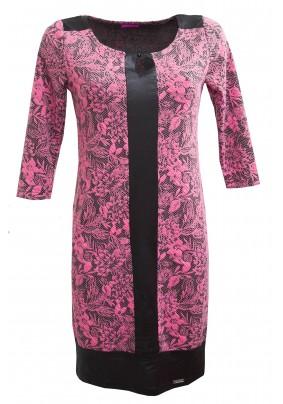 Růžovo-černé elegantní šaty