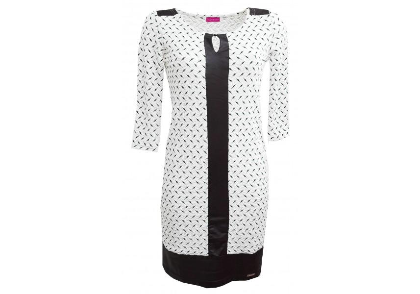 Bílo-černé šaty s  kůží