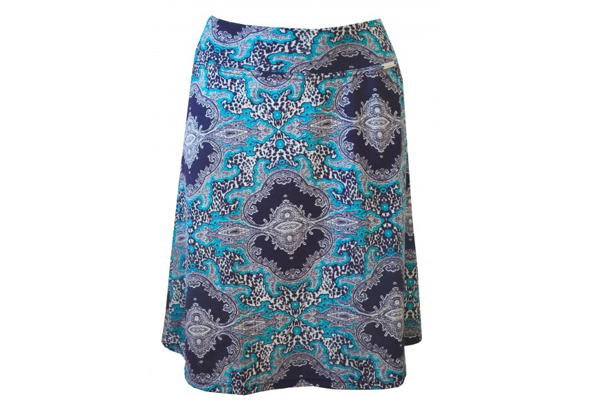 Teplá modrá sukně s tiskem