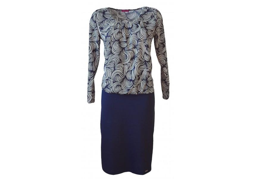Modro-bílé elegantní šaty