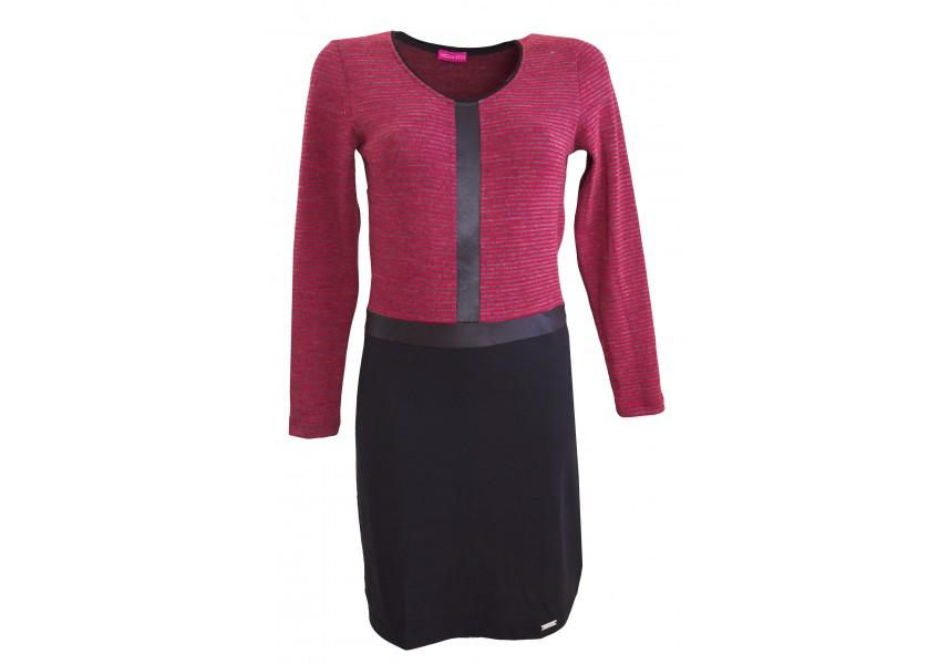 Šaty s červeno-šedými proužky