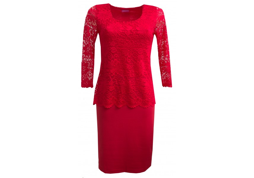 Červené šaty s krajkovým vrchním dílem