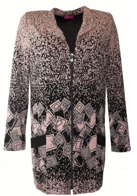 Prodloužený kabátek s plastickým vzorem