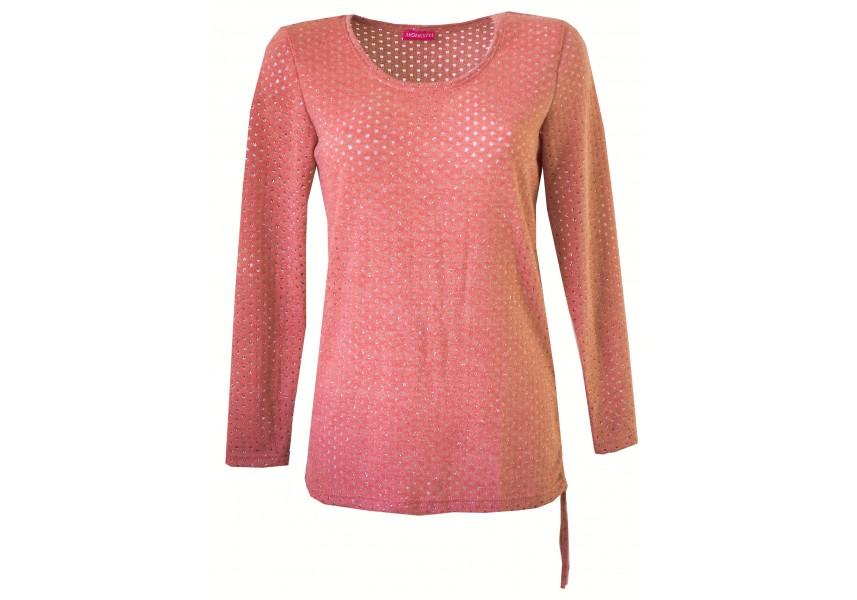 Růžový svetřík se stříbrem