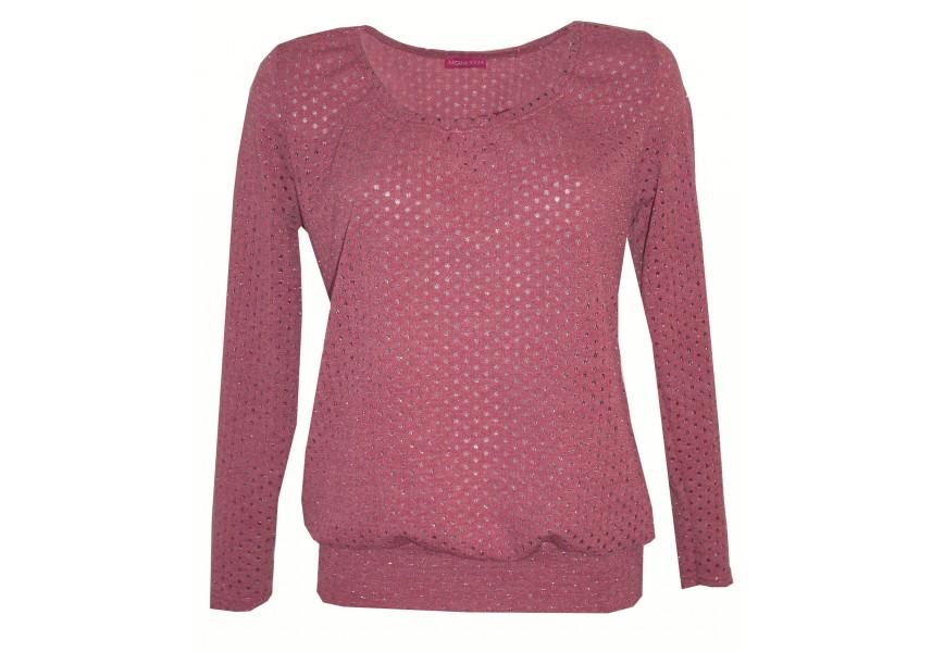 Růžový řasený svetr