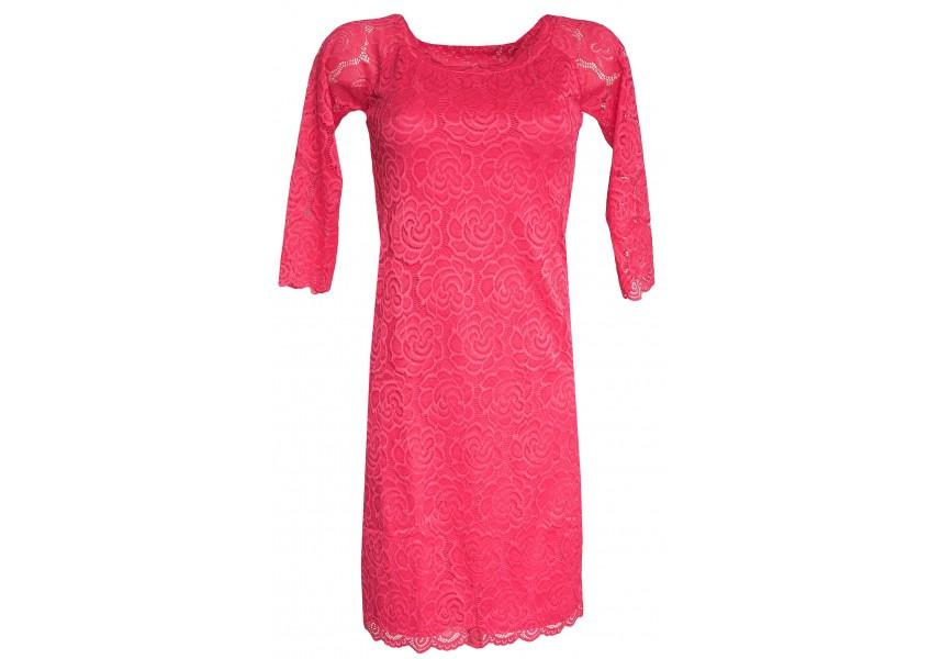 Lososovo-růžové krajkové šaty