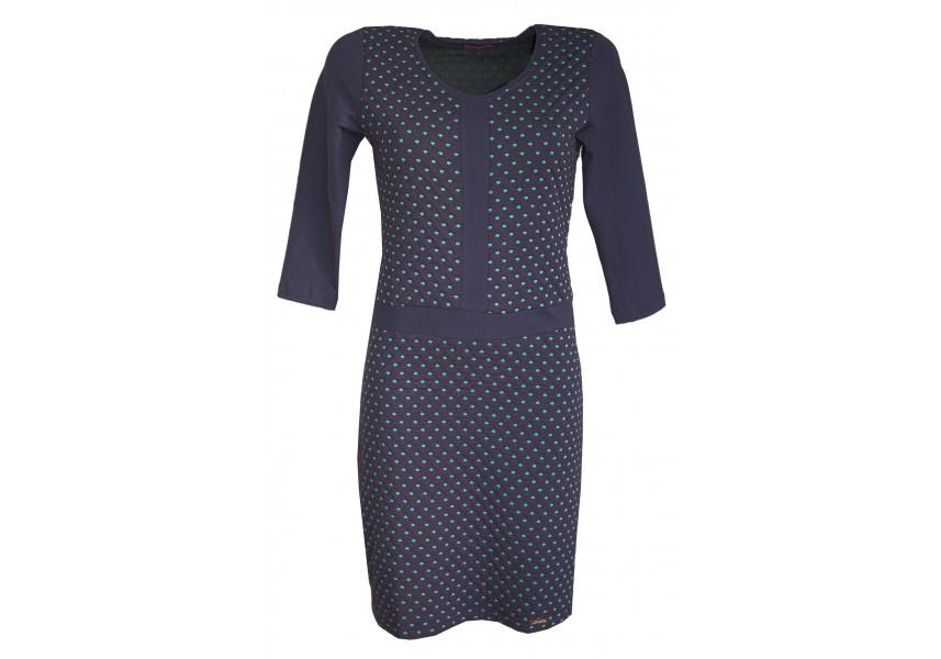Modré šaty s tyrkysovými puntíky