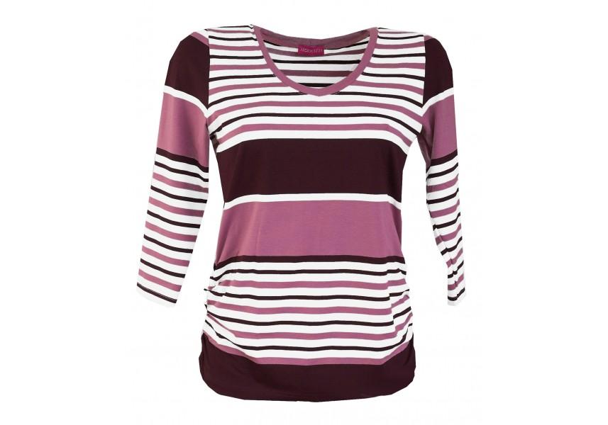 Vínovo-fialové pruhované triko