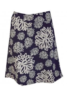 Modrá sukně s béžovými květy