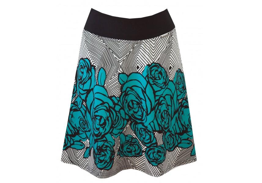 Krátká sukně s tyrkysovými květy