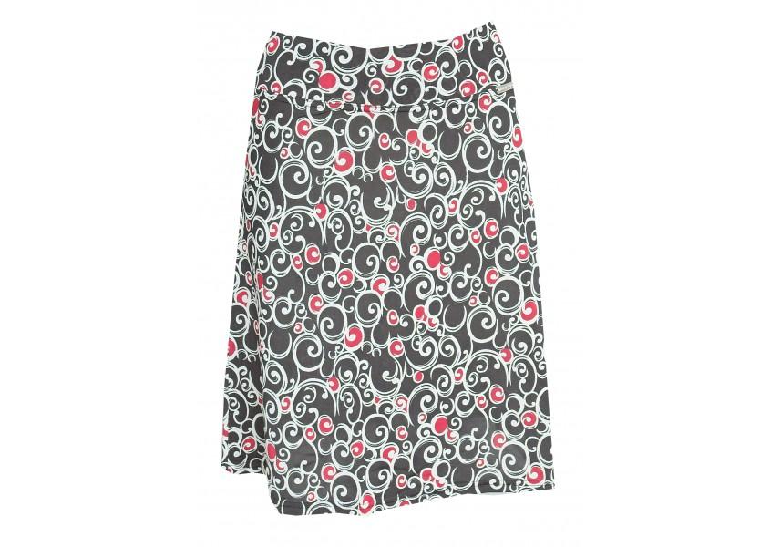 Černá sukně s červeno-bílým plastickým vzorem