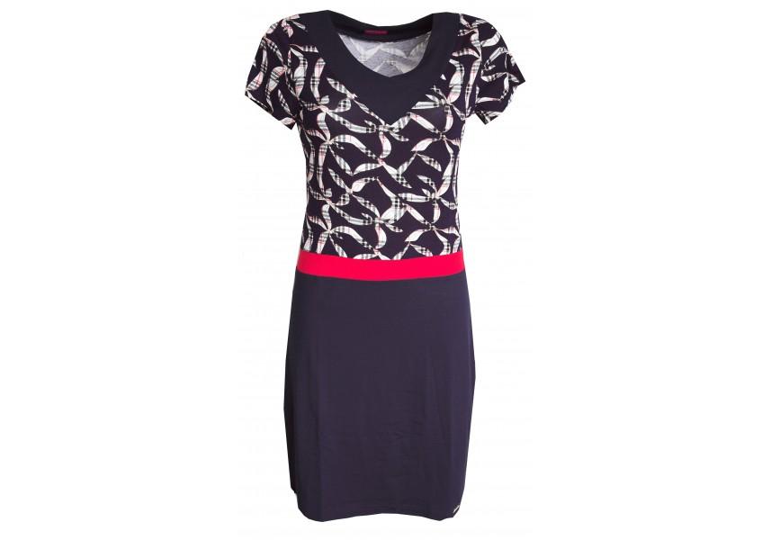 Šaty s krátkým rukávem rozdělené červeným pruhem