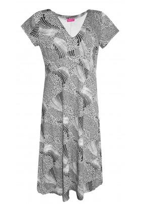 Černo-smetanové šaty s krátkým rukávem