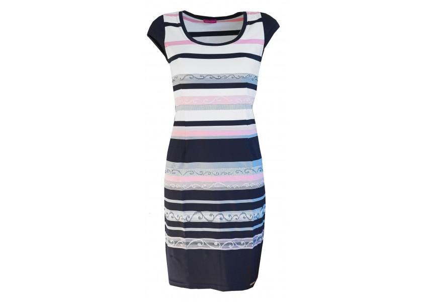 Modro-růžovo-bílé pruhované šaty