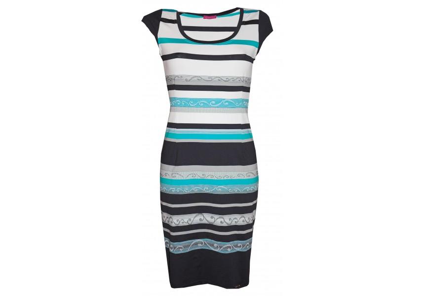 Modro-bílo-tyrkysové šaty