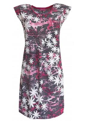 Růžové letní šaty se vzorem