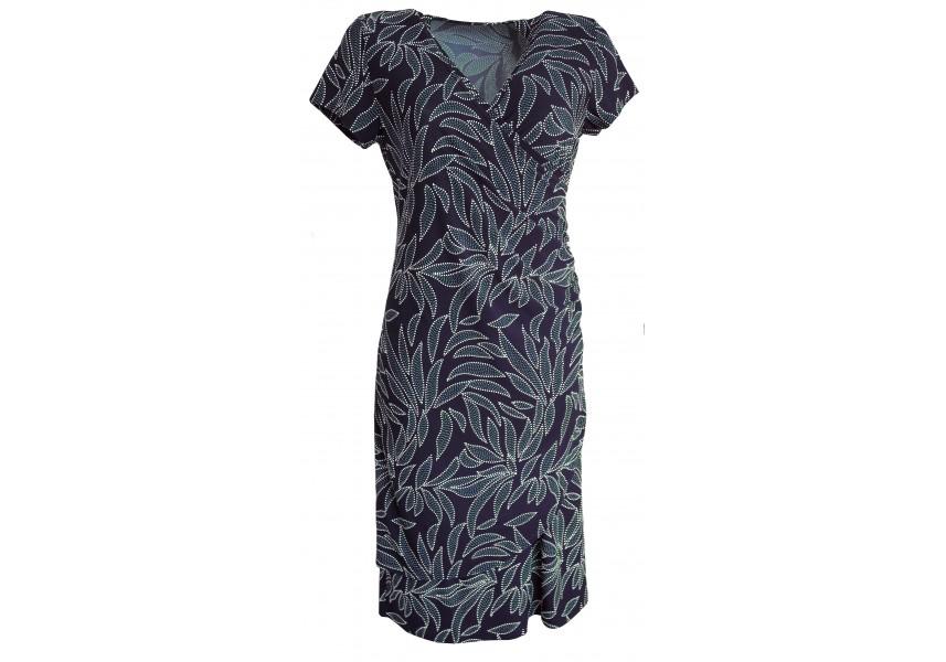Modré elegantní šaty se vzorem