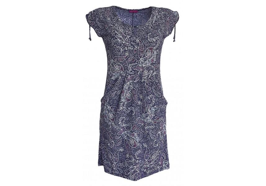 Modré letní šaty s tiskem