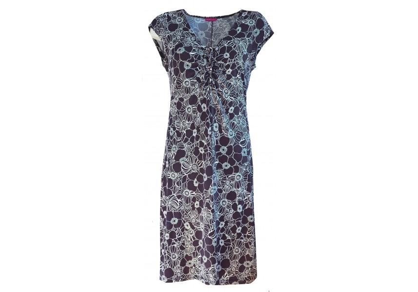 Modré delší šaty s tiskem