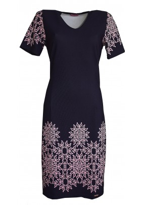 Modré šaty s růžovým tiskem